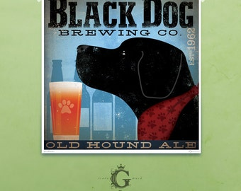 BLACK dog brewing beer company artwork illustration giclee archival signed artists print  by stephen fowler