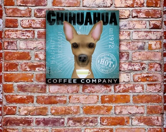 Chihuahua Dog Coffee Company original illustration graphic art on gallery wrapped canvas by stephen fowler