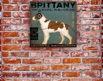 Brittany Spaniel Records original graphic illustration artwork on gallery wrapped canvas by stephen fowler