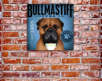 Bullmastiff bull mastiff Coffee Company original graphic art on gallery wrapped canvas by stephen fowler