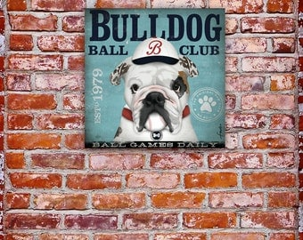 Bulldog baseball club  graphic illustration on gallery wrapped canvas by stephen fowler