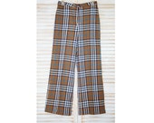 1/2 Price! Funky Vintage Seventies Plaid Wool Pants, Lined Flared Leg, Khaki, Zipper Front, Crazy Horse Brand, Warm, Winter Pants, Very Cool