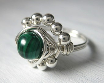 Malachite Ring Wire Wrapped Sterling Silver Princess Cocktail Ring Birthstone Jewelry -- All Sizes Available