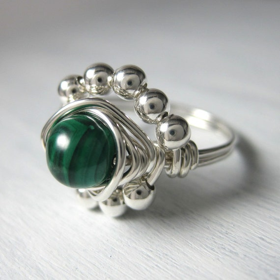 malachite ring wire wrapped sterling silver princess cocktail