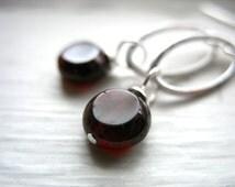 Garnet Earrings, Handmade Garnet Stone Silver Oval Hoop Earrings, Garnet Jewelry, Birthstone Earrings, Garnet Gemstone Earrings