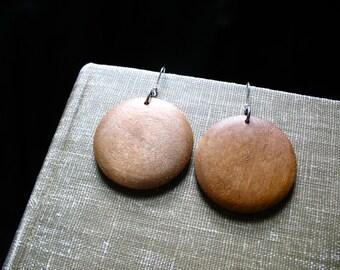 Wood Earrings, Maple Wood Earrings, Chocolate Brown Maple Wood Earrings, Handmade Wood Dangle Drop Chandelier Earrings