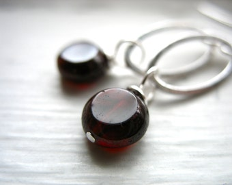Garnet Earrings, Handmade Garnet Stone Silver Oval Hoop Earrings, Garnet Jewelry, Birthstone Earrings, Garnet Gemstone Earrings