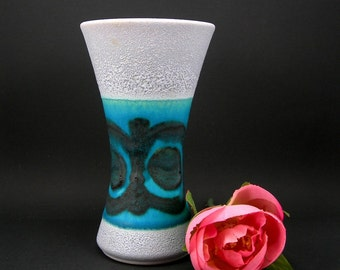 Germany Pottery Blue Vase, Vintage circa 1960s, Wasp Waist, Textured Paint, 6 inches Tall, Glazed Interior, Mid Century Home Decor