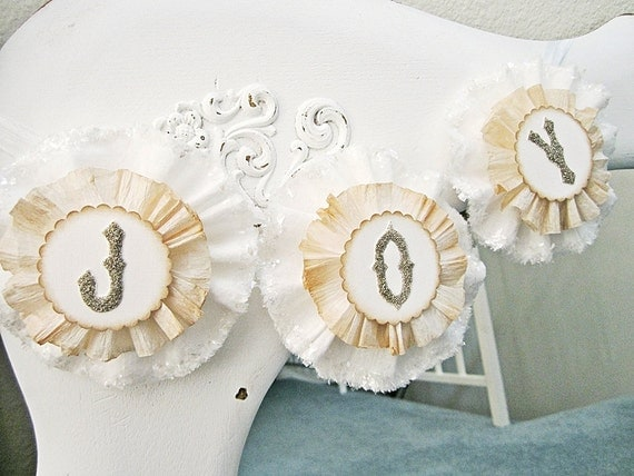 Christmas Decor Banner Vintage Style Shabby Chic Cottage Chic White and Cream Crepe Paper and Muslin
