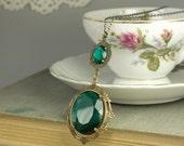 Emerald necklace victorian jewel brass antique edwardian art nouveau glamour crystal green gem vintage style bronze handmade statement