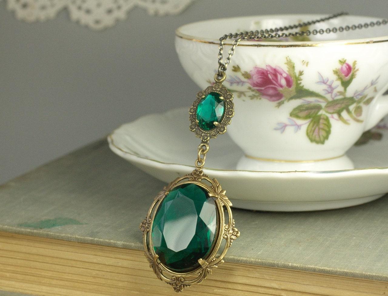 emerald necklace victorian jewel brass antique edwardian art