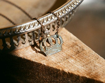 the Ghosts of England - aged patina crown necklace