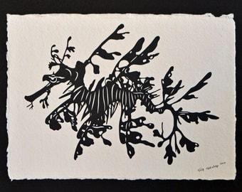 Sale 20% Off // Leafy Seadragon - Hand-Cut Silhouette Papercut // Coupon Code SALE20