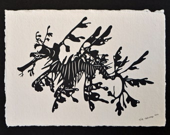 Mother's Day Sale 20% Off // Leafy Seadragon - Hand-Cut Silhouette Papercut // Coupon Code SALE20