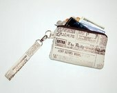 Vintage Newspaper - Wristlet Purse with Removable Strap and Interior Pocket