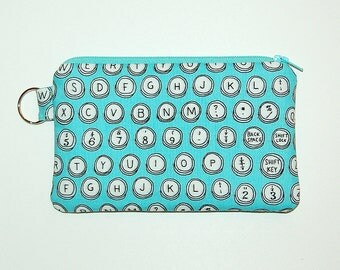 Typewriter Keys - iPhone 6s, iPhone 6, iPhone 5, iPhone 4, Samsung Galaxy S5/S6 - Cell Phone Gadget Zipper Pouch / Coin Purse