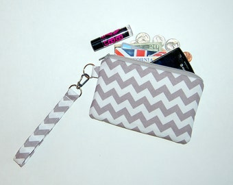 Chevron (Grey) - Wristlet Purse with Removable Strap and Interior Pocket