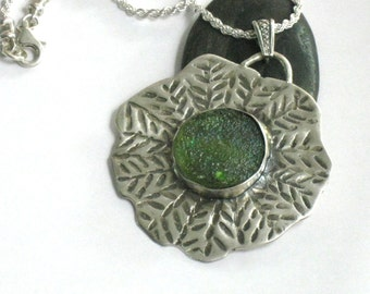 Silver Glass Pendant Necklace, Roman Glass Necklace, Authentic Ancient Roman Glass, Statement Pendant Necklace, Round Glass Pendant