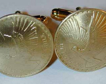 Coin cuff links~ Chile golden condor cuff links-handmade in the USA- free shipping