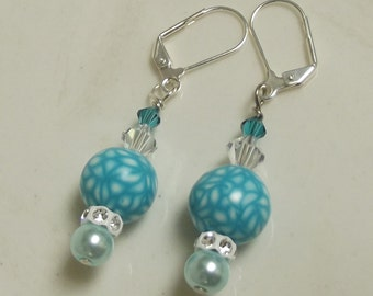 Aqua White Beaded Earrings, Polymer Clay Beads, Mod, Hippie, Groovy