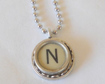 Typewriter Key Necklace, Letter N Vintage, Initial Jewelry,  All Letters Available, Typography Jewelry,