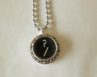 Typewriter Key Necklace, Question Mark?,  Vintage, Initial Jewelry,  All Letters Available, Typography Jewelry,