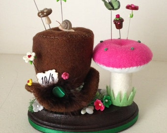 Mad Hatter and Mushroom Alice Inspired Pincushion OOAK