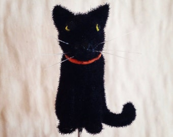 Halloween Fuzzy Black Cat Pin Topper
