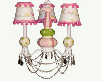Kid's Ceiling Fixture - Pink and Green Decor  - Bird Chandelier