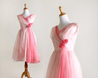 Vintage Rose 1960s Dress - Cotton Candy Pink Chiffon Party Dress - XS XXS Prom Dress