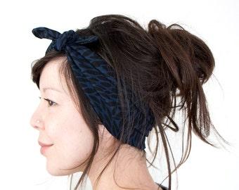 Tie Up Headscarf Black and Navy Leaf Print