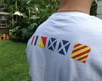 NAUTICAL TEES...hand painted names in Nautical Code flags,gift guide,party favors,sea beach boating,summer