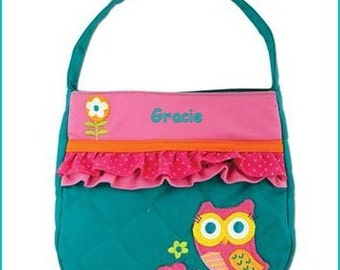 Toddler Purse, Dress Up, Handbag, Little Girl, Pocketbook, Flower Girl, Accessories, Sibling Gift,Personalized  Quilted Owl Teal  Purse