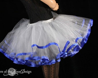 Ready to ship - Silver tutu petticoat skirt adult royal trim Halloween costume carnival superhero durby run -Small- Sisters of the Moon