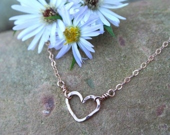 Heart Necklace, Dainty Necklace, Tiny, Minimalist 14K Rose Gold Filled, Christmas Gift Girlfriend