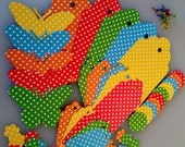 DIY Polka Dot Butterflies Bright colors Gift, Thank You Hang Tags Large Set Die Cuts