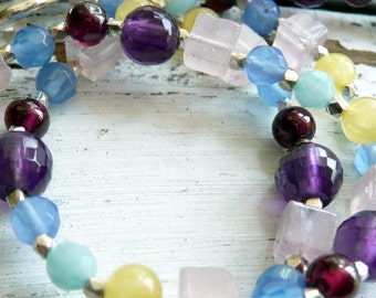 Handcrafted Artisan Multi Colored Pastel Gemstone Sterling Silver Bohemian Asymmeterical OOAK Necklace