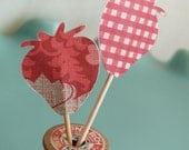 Strawberry Cupcake Toppers, Party Picks, Food Picks