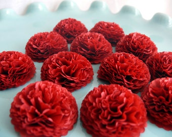 Button Mums Tissue Paper Flowers Cranberry Red Wedding, Bridal Shower, Baby Shower Decor