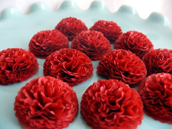 button mums tissue paper flowers cranberry red wedding bridal