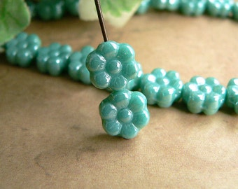 Turquoise Czech Glass Daisy Flower Beads Opaque Green Aqua Luster 6 Petal 8mm AB (25)