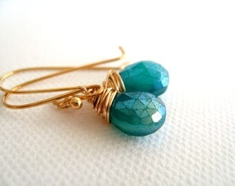 Teal Earrings Peacock Chalcedony drops Gold Gift for her Under 45 Vitrine Peacock Wedding Bridesmaid gift