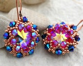 Rose Gold Pink and Blue Crystal Wrapped Rivoli Earrings