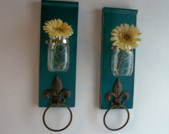 Two Wood Sconces for Kitchen or Bathroom Wall.Fleur de Lis Towel RingsTeal Blue Green