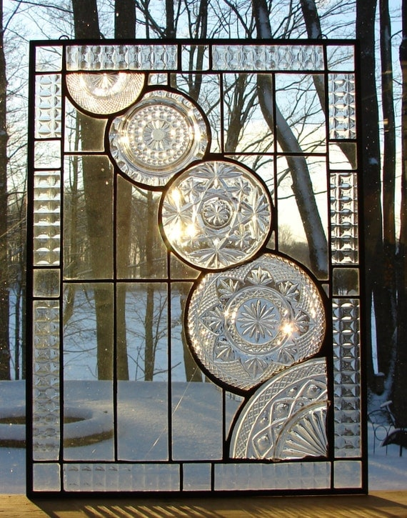 Crystal Cascade stained glass panel window