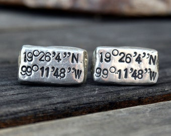 Latitude Longitude Cufflinks - Custom Cufflinks - Personalized Cufflinks