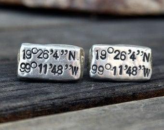Latitude Longitude Cufflinks - Custom Cufflinks - Personalized Cufflinks