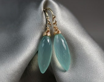 Aqua Chalcedony Dewdrop Earrings in Gold Fill