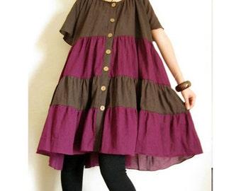 Custom Made Brown Purple Cotton Patchwork Loose Tunic Blouse Boho Dress S-XL (H)