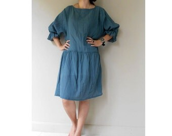 Silk Blue Cotton Loose Boho Summer Short Tunic Dress (H)